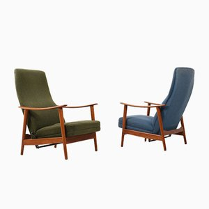 Mid-Century Danish Teak Reclining Lounge Chairs, 1960s, Set of 2
