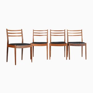 Mid-Century Teak and Leatherette Chairs from G Plan, 1960s, Set of 4