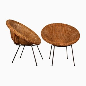 Mid-Century Italian Round Rattan Lounge Chairs by Franco Albini, 1950s, Set of 2