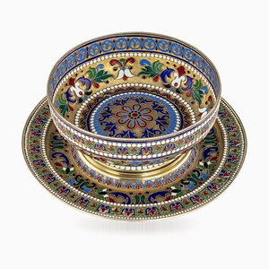 Antique Russian Solid Silver Gilt and Enamel Bratina Bowl on Stand from Pavel Ovchinnikov, 1870s