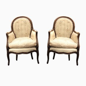 Louis XV French Bergere Armchairs, Set of 2