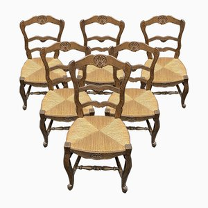 French Oak Farmhouse Dining Chairs, 1920s, Set of 6