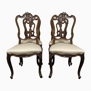 French Walnut Dining Chairs, Set of 4