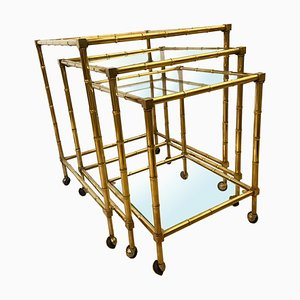 Mid-Century Italian Brass Faux Bamboo Nesting Trolleys from Maison Baguès, Set of 3