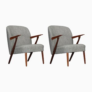 Danish Gray Armchairs by Kurt Olsen for Slagelse Møbelværk, 1960s, Set of 2