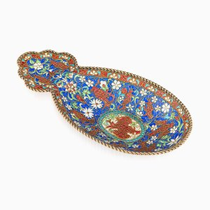 Antique Russian Solid Silver Gilt and Plique-a-jour Enamel Tray from Ivan Khlebnikov, 1890s
