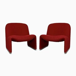 Red Alky Lounge Chairs by Giancarlo Piretti for Castelli / Anonima Castelli, 1970s, Set of 2