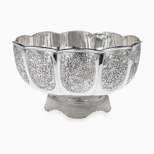 Antique Japanese Solid Silver Butterfly Bowl by Tadayoshi Oiharu, 1900s