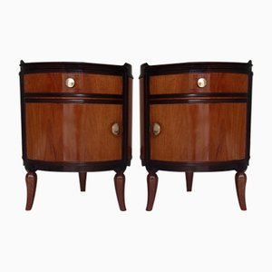 Round Solid Mahogany Side Tables, 1920s, Set of 2