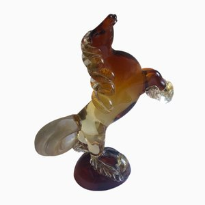 Amber and Transparent Murano Glass Prancing Horse Sculpture with Gold Leaf by Archimede Seguso for Seguso Vetri d'Arte, 1940s