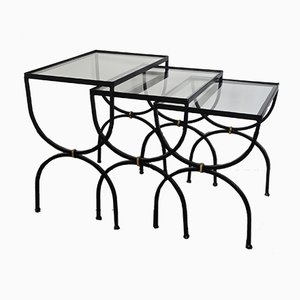 Mid-Century Neoclassical French Iron and Glass Side Tables, 1950s, Set of 3