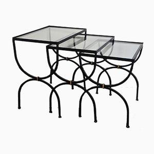 Neoklassizistische Mid-Century Beistelltische aus Eisen & Glas, 1950er, 3er Set