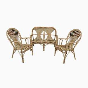 Vintage Sitzbank und Stühle aus Korbgeflecht, 1960er