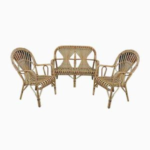 Vintage Wicker Bench and Chairs Set, 1960s