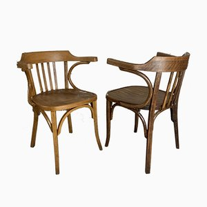 Mid-Century Wooden Bistro Derby Chairs, 1950s, Set of 2
