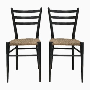 Mid-Century Wood and Rope Side Chairs, Set of 2