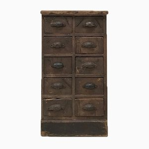 Antique Workshop Cabinet with 10 Drawers, 1900s