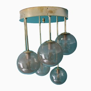 Mid-Century Short 6-Light Chandelier in Brass and Golden Murano Glass Globes, 1980s