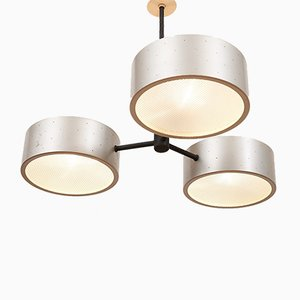 Mid-Century Swiss Black Lacquered Metal, Aluminum, and Glass Ceiling Lamp