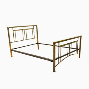 Antique Victorian English Brass and Iron Double Bed Frame, 1880s