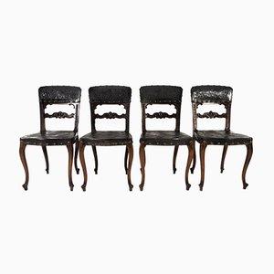 Antike Rokoko Esszimmerstühle, 1880er, 4er Set