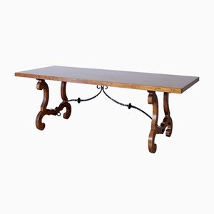 Solid Wood and Wrought Iron Refectory Table, 1950s
