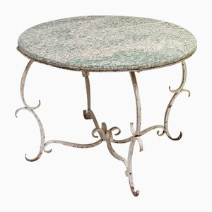 Vintage Wrought Iron and Marble Low Table, 1960s