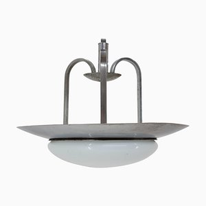 Bauhaus Functionalism Chrome Pendant Lamp, 1930s