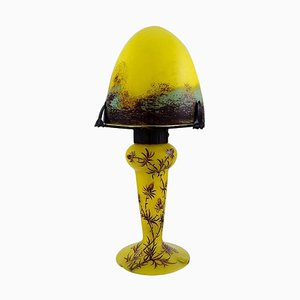 Yellow and Blue Brown Art Glass Nancy Table Lamp by Charles Vessière, 1920s