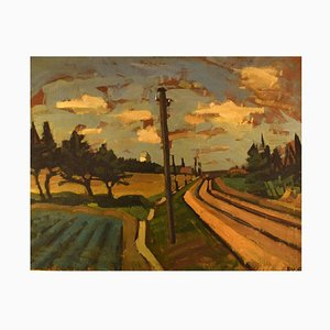 Landscape from Vendsyssel Oil Painting by Svend Egelund, 1930s