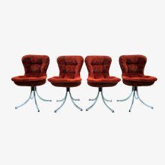 Chaises de Salon en Chrome et Velours