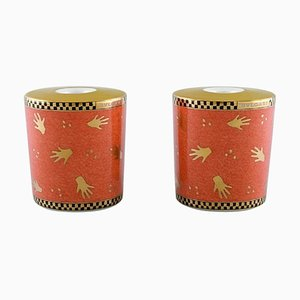 Porcelain Model Mano al Vento Candleholders by Bvlgari for Rosenthal, Set of 2