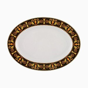 Vintage Oval Porcelain Model Barocco Dish or Tray by Gianni Versace for Rosenthal