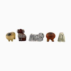 Glazed Ceramic Dog Figurines by Lisa Larson for Gustavsberg, 1970s, Set of 5