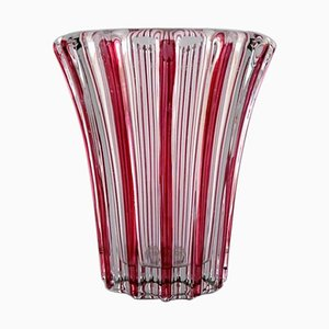 Art Deco Clear and Pink Glass Vase from Pierre a'Avesn, 1940s