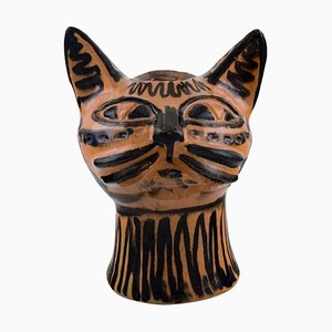 Danish Cat Head Sculpture by Helge Christoffersen