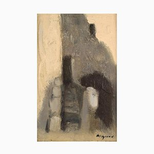 Abstract Oil Painting on Board by Bengt Hillgrund, 1960s