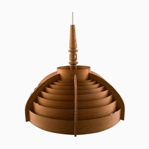 Wooden Ceiling Lamp from Hans Agne Jakobsson, 1960s