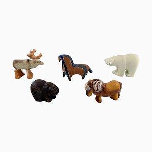 Glazed Ceramic Figures of Animals by Lisa Larson for Gustavsberg, 1970s, Set of 5