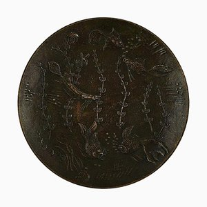 Swedish Round Bronze Dish Decorated with Underwater Scene by Gunnar Nylund, 1940s