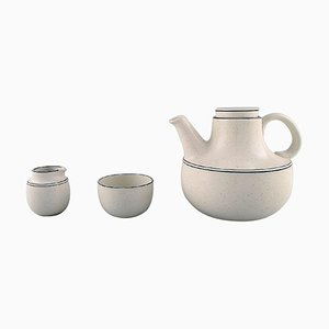 Stig Lindberg for Gustavsberg Birka Teapot with Sugar & Cream Set