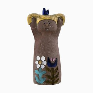Mari Simmulson for Upsala-Ekeby Figurine of Girl in Glazed Stoneware, 1960s