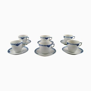 Royal Copenhagen Blue Painted Coffee Cups with Saucers in Porcelain, 1990s, Set of 12