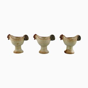 Lisa Larson for Gustavsberg Glazed Ceramic Egg Cups from the Easter Series, 1982, Set of 3