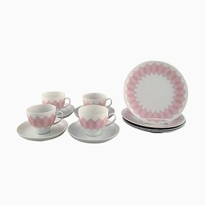 Bjørn Wiinblad for Rosenthal Pink Lotus Porcelain Coffee Service, 1980s, Set of 12