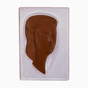 Goldscheider Art Deco Relief in Glazed Ceramic with Woman's Face, Austria, 1950s