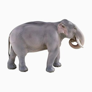 Antique Porcelain Elephant Sculpture by Theodor Madsen for Royal Copenhagen