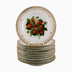 Antique Royal Copenhagen Hand-Painted Flora Danica Fruit Plates, Set of 10