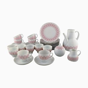 Bjørn Wiinblad for Rosenthal Pink Lotus Porcelain Coffee Service, 1980s, Set of 39