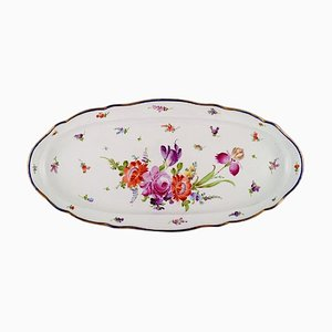 Large Antique Meissen Serving Dish in Hand-Painted Porcelain with Floral Motifs